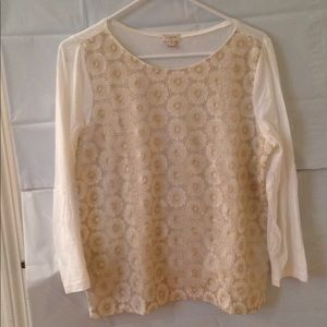 J.Crew Off White Knit Top Gold Shimmer Floral Lace